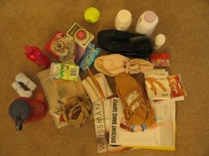 This is just some of the stuff Michele keeps in her bag.  Yes, she usually has whatever you forgot and she's willing to share.