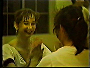 Dancers Lara and Gayle during a rehearsal in the old studio at 911 Third Street.